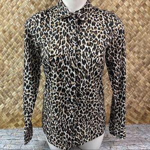 J Crew Perfect Shirt Animal Leopard Print Shirt